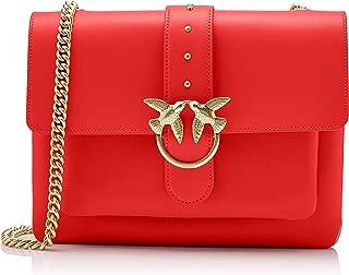 Pinko 女式 Big Love Simply 1 Tracolla Vitello Seta + borchiette 單肩包 Red (Rosso/Rosso Cinese) 6x21x29 centimeters (W x H x L)