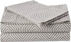 zestt * 有机棉光面床单套装,几何图案,白色/灰色,豪华床单 灰色和白色 两个 XL 30101