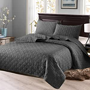 "Exclusivo Mezcla 2 件套单人床被套套装,带枕套,可作为床单/被套/床罩(椭圆钢灰色) - 柔软、轻盈、可逆且防* 深灰色 Full/Queen (92""x88"") QS-06-QPDG"
