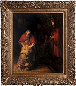 overstockArt Return of The Prodigal Son by Rembrandt with Burgeon Gold Frame and Organic Pattern Facade