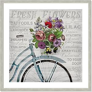 "Casa Fine Arts 多彩花卉植物排版档案艺术印刷品 Warm Silver Frame 31"" x 31"" 6250-01"
