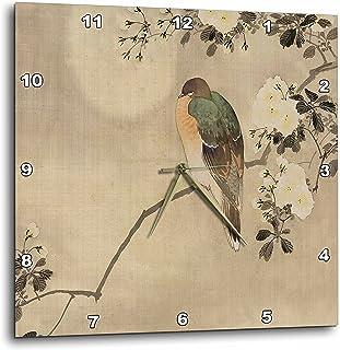 """3dRose"""" 复古风格亚洲鸟在花卉枝形挂钟,33.02 厘米 x 33.02 厘米"""