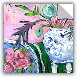 ArtWall Pamela J. Wingard's Blue & White with Pink Removable Wall Art Mural, 18 x 18""