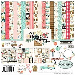 Carta Bella Paper Company CBMK96016 花市场收集套件 青*,粉色,棕褐色,*,奶油色