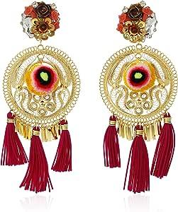 MERCEDES salazar 金和红色流苏啦啦花卉夹式耳环