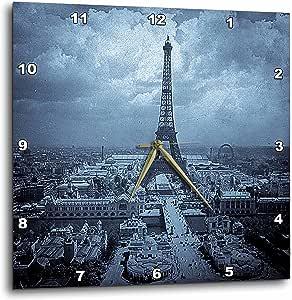 3dRose dpp_77455_3 The Paris Exposition 1900 Eiffel Tower Cyan Tone-Wall Clock, 15 by 15-Inch