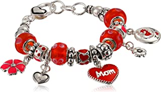 """Amazon Collection """"Love You Mom""""心形&花朵吊坠手链"""