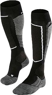 FALKE 女士滑雪袜滑雪袜 SK2 羊毛 - 75% 羊毛 - 尺码 35-42 - 可选。 颜色 - 中等强度填充 schwarz (Black-Grey) 41-42