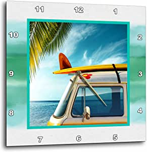 3dRose dpp_99540_2 Vintage Van with Surfboard Wall Clock, 13 by 13-Inch