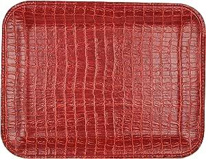 SIGNATURE HOME COLLECTION AP-180-A65 平板电脑长方形,33 x 25 x 2厘米无手柄,皮革鳄鱼纹,红棕色
