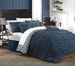 Chic Home 7 件套男女同性褶皱现代被子套装 *蓝 Queen CS2824-AN