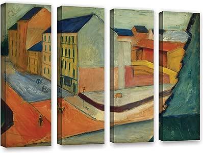 "ArtWall Franz Marc's Unsere Strasse Mit Reitbahn Bonn 4 Piece Gallery Wrapped Canvas Set, 24"" x 32"""