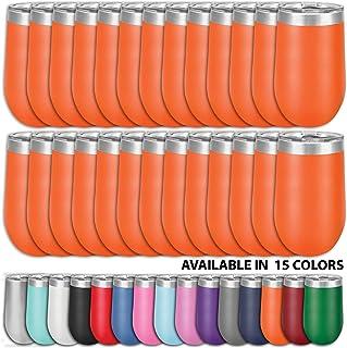 Clear Water Home Goods - 24 件装散装 - 453.59 毫升不锈钢酒杯带盖,无锅真空保温双层壁 18/8,粉末涂层 橙色