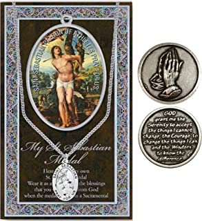 Inspire Nation 宗教吊坠*牌项链链祈祷卡套装带硬币(St Sebastian)