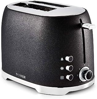塔式烤面包机,7 种可变的Browning 控制、解冻、回热和取消设置,*功能 Black Glitz Sparkle 2-Slice T20029