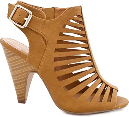 SNJ 女士镂空系带扣背带粗跟高跟凉鞋 Tan Stack 8.5 M US