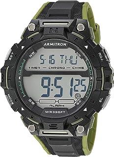 Armitron Sport 男士 40/8455GBK *數字計時黑色樹脂表帶手表