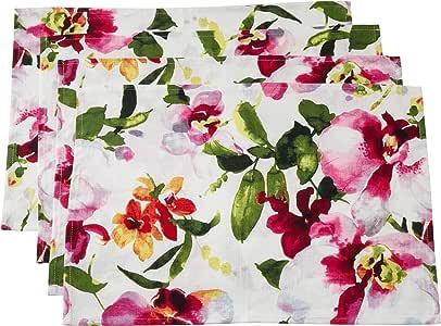 SARO LIFESTYLE Fiore 系列印花印花厨房毛巾(4 件套),50.8 cm x 71.12 cm,多色 多种颜色 14 英寸 x 20 英寸 1618.M1420B