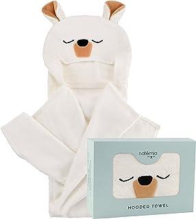 natemia 超柔软竹纤维连帽浴巾适用于新生儿适合儿童 | NATURALLY *和防* | 101.6x 76.2cm 大号动物头像浴巾带罩适用于男孩和女孩