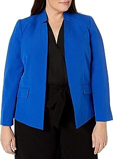 Kasper 女式加大码弹力绉纱立领夹克,带口袋