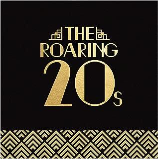 Big Dot of Happiness Roaring 20 年代金箔 - 2020 年毕业和选举派对用品 - 20 年代艺术装饰爵士派对午餐餐巾(16 片装)
