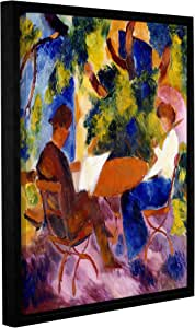 "Tremont Hill August Macke""At the Garden Table,1914 英寸画廊装裱地板框油画,24X32"