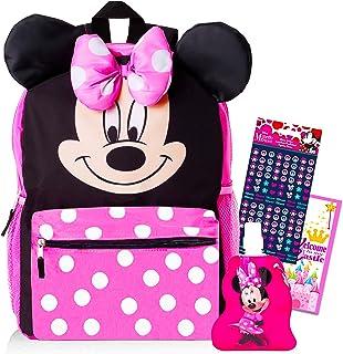 米妮老鼠背包和水瓶适合儿童幼儿 ~ 高级 14 英寸米妮书包 带 3D 耳朵和泡泡蝴蝶结,米妮老鼠水壶,贴纸等(米妮老鼠学校用品套装)