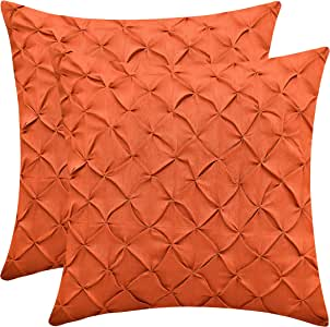 The White Petals 人造丝绸 Pinch Pleat 枕套 2 件装 橘红色(Rust) 20x20 inch DUPC2RUST20x20Pinch Pleat MPN
