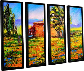 """ArtWall Susi Franco's Prarie Palace 4 Piece Floater Framed Canvas Set, 36 by 48"""""""