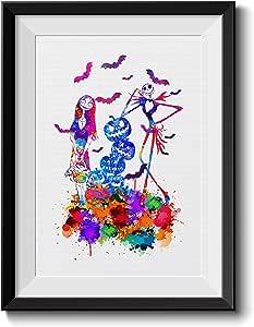 Uhomate Jack Sally Nightmare Before Christmas 南瓜王家居帆布印刷墙艺术婴儿礼品激励性引语墙饰客厅卧室浴室艺术品 C043 11X14 inch