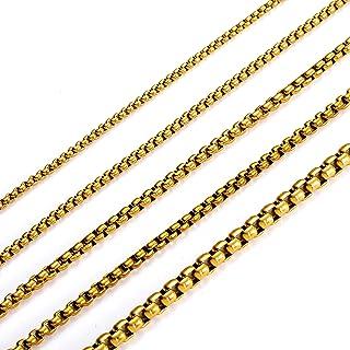 MEMGIFT 18K 镀金盒链项链女士男士青少年女孩男孩不锈钢长16-28英寸(约40.6-71.1厘米)宽2.5-5毫米盒子链接简单珠宝礼物送给妈妈爸爸*好的朋友姐妹妻子