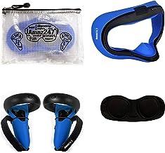 Amaz247 硅胶防漏面罩,防护镜头盖,控制器手柄盖,带 Hnadle 带 Oculus Quest VR 耳机 蓝色