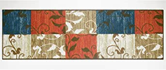 Modern Living Leaf Vine Squares Decorative Area Accent Rug, 20 by 60-Inch