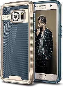 Galaxy S7 手机壳,E LV Galaxy S7 - Hybrid [防刮/防尘]装甲防护纤薄减震保护壳适用于三星 Galaxy S7S7-cosmos-d.blue/gold 深蓝色/金色