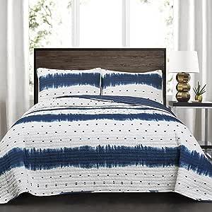 Lush Decor Marlton 条纹 3 件套被子套装 3 件套,双人床/中号,*蓝 *蓝 King 16T002707