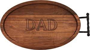 """CHUBBCO W420-LTWB-DAD Oval Trencher Carving Board with Large Twisted Ball Handle, 15-Inch by 24-Inch by 1.75-Inch, Monogrammed """"DAD"""", Walnut"""