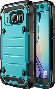 Galaxy S7 手机壳,E LV 三星 Galaxy S7 混合装甲保护壳,带内置屏幕保护膜,适用于三星 Galaxy S7s7-Crodile-armor-turq/blk 蓝绿色/黑色