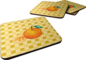 Caroline's Treasures BB7239FC 篮球织物橙色和切片装饰杯垫,3.5,多色