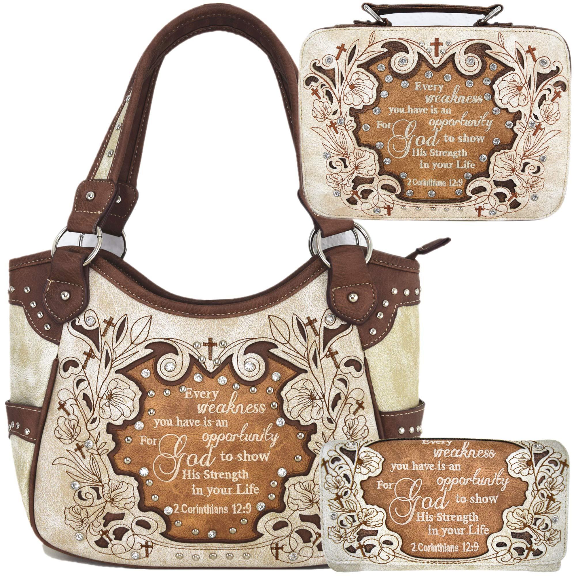 Scripture Cross 女士单肩包钱包圣经封面套装西部隐藏手提包乡村手提包
