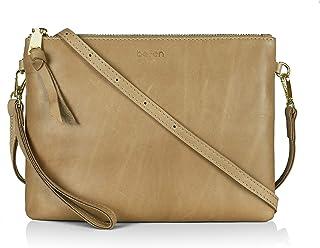 befen 皮革手拿包腕包中号斜挎包带卡槽/可调节肩带 棕褐色