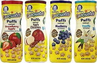 Gerber Graduates Puffs Bundle of 4 - Strawberry Apple, Apple Cinnamon, Blueberry, and Vanilla
