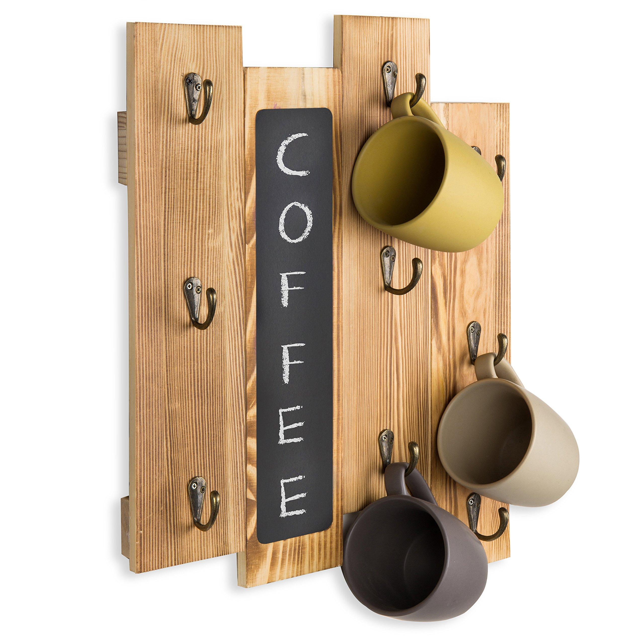 MyGift 9 个挂钩扭锁木壁挂式咖啡杯架带黑板