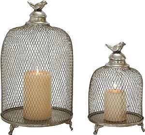 Benzara Grandeur & 独特风格金属蜡烛灯笼,2 件套