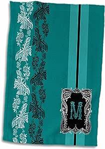 3D Rose Monogram 首字母 M 青色白色和黑色蕾丝手巾,38.10 cm x 55.88 cm