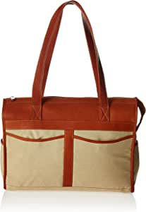 Piel Leather Travel Tote Bag, Saddle, One Size