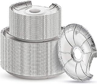 Linda's Essentials 电子炉燃烧器盖(50 件装)| 一次性铝制炉燃烧器衬垫| 圆形铝箔 15.24 厘米和 20.32 厘米燃烧器衬垫可保持电子灶油和食物滴落的清洁