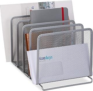 Relaxdays 目录收藏夹 5 个隔层 独立文件架 金属材质 网眼设计 19 × 20.5 × 37.5 厘米 银色