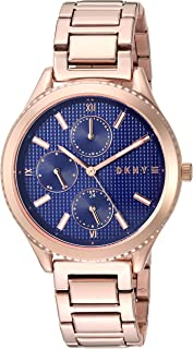 "DKNY 女式""Woodhaven""石英不锈钢休闲手表,颜色:玫瑰金色调(型号:NY2661)"