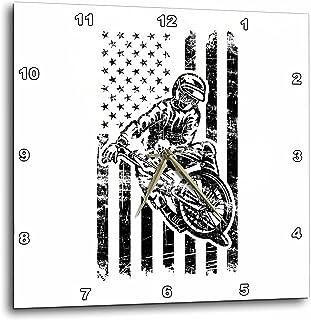 """3dRose Carsten Reisinger - 插图 - 酷炫 BMX 自行车手带美国国旗摇滚效果 - 挂钟 13 x 13"""" dpp_282648_2"""