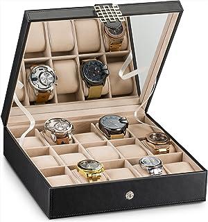 Glenor Co 手表盒女式 - 15 插槽经典手表外壳显示整理器现代皮带扣 - 黑色